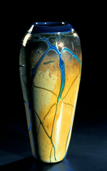 Golden Gem Vase - Aquamarine - Art Glass Vase - by Cristy Aloysi and Scott Graham