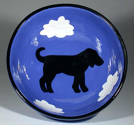 Small Blue Bowl With Dog - Ceramic Bowl - by Alison Palmer