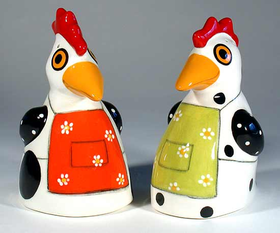 Salt & Pepper Set: Hens with Aprons - Ceramic Salt & Pepper Shakers - by Alison Palmer