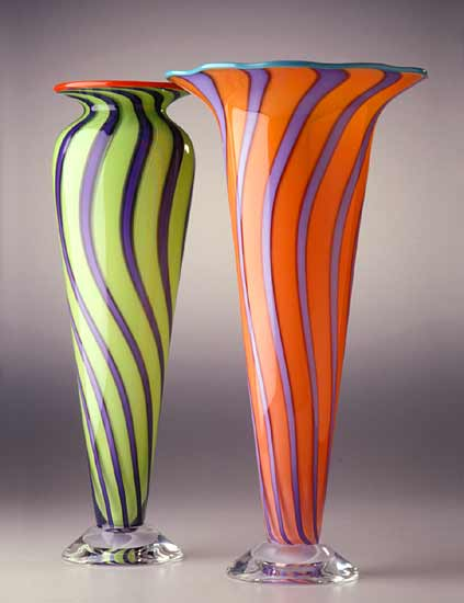 Cane Vase & Cone (1) - Art Glass Vase - by Ingrid Hanson and Ken Hanson