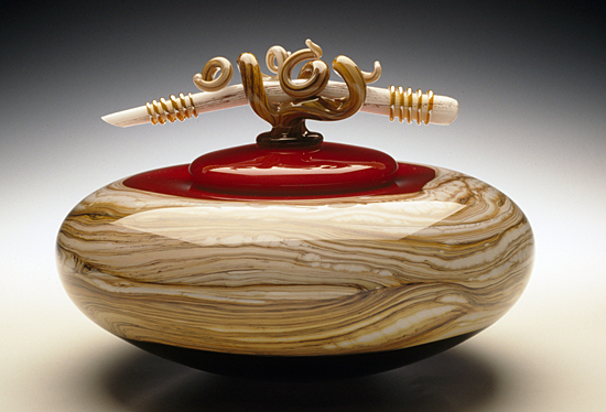 Ruby Covered Bowl - Art Glass Vessel - by Danielle Blade and Stephen Gartner
