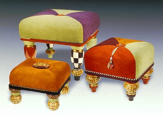 Marco Polo Trio - Upholstered Wood Ottomans - by Meg Romero