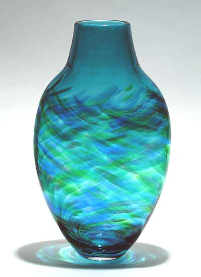 Tall Flattened Vortex Vase: Blue - Art Glass Vase - by Michael Trimpol
