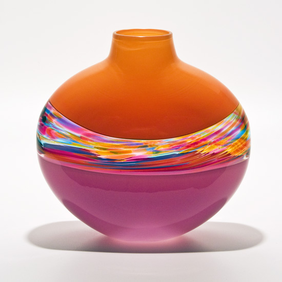 Flat Vortex Vase: Tangerine, Florida & Raspberry - Art Glass Vase - by Michael Trimpol