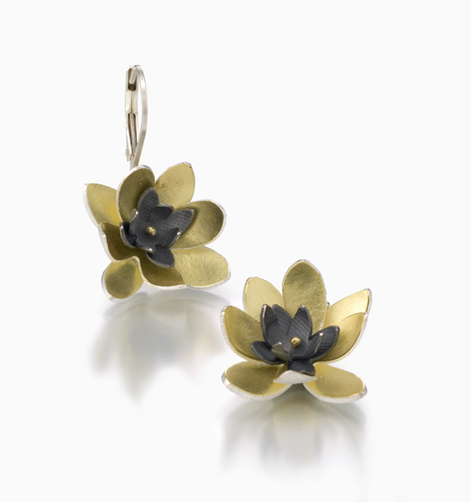 Lotus Flower Earrings - Silver & Bimetal Earrings - by Jamie Cassavoy