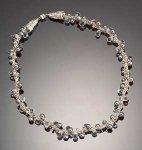 Silver, Crystal & Pearl Necklace by Sharmen Liao