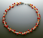 Silver, Coral & Carnelian Necklace by Sharmen Liao