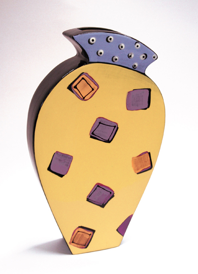 Purple & Orange Squares Vase - Ceramic Wall Art - by Diana Crain