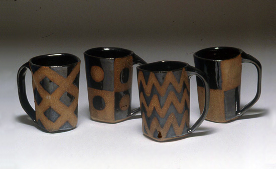 4 Square Mugs - Ceramic Mugs - by Emily Pearlman