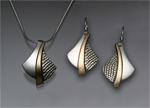 Silver & Gold Pendant & Earrings by David Smallcombe