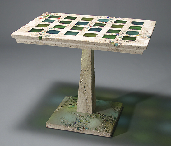 Jessie Cafe Table - Concrete & Art Glass Cafe Table - by Terence S. Dubreuil