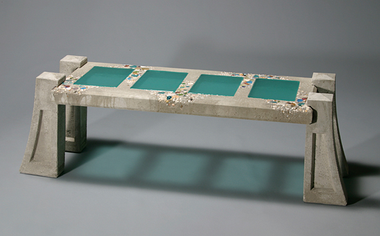 Garden Bench - Concrete & Art Glass Bench - by Terence S. Dubreuil