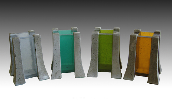 Turquoise Candle Pillar - Concrete & Art Glass Candleholder - by Terence S. Dubreuil