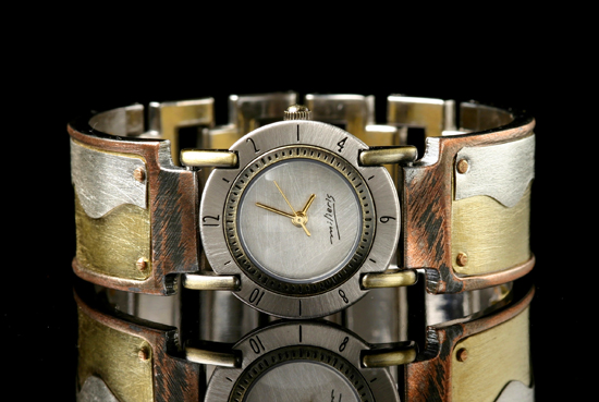 Full Moon Brass Wave - Silver & Brass Men's Watch - by Eduardo Milieris