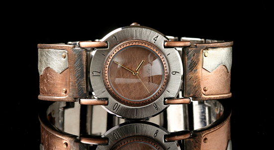 Full Moon Copper Wave - Silver & Copper Men's Watch - by Eduardo Milieris