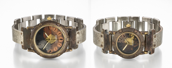 Paper on Silver - Silver & Brass Watch - by Eduardo Milieris