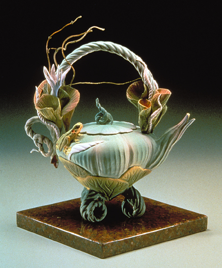 Jade Lily Tea - Ceramic Teapot - by Nancy Y. Adams