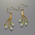 Gold & Pearl Earrings by Ellen Vontillius
