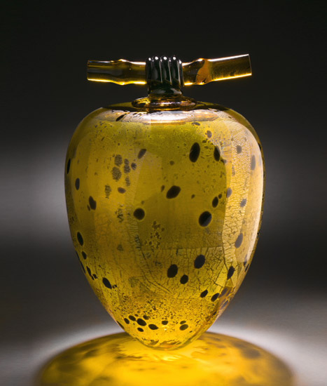 Light Amber Wishpot - Art Glass Vessel - by Geoff Lee