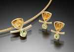 Gold & Stone Pendant by Ilene Schwartz