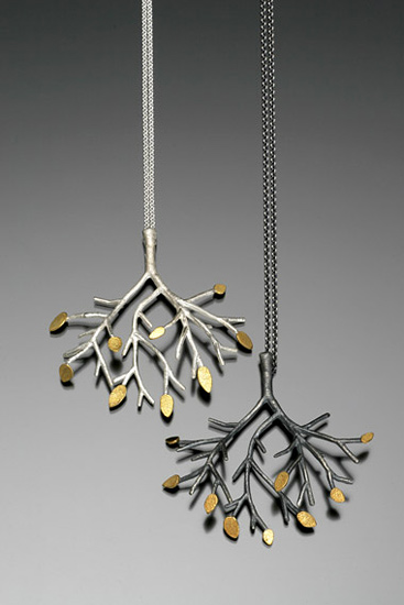 Tree Pendant on Chain - Silver & Gold Pendant - by Sarah Hood