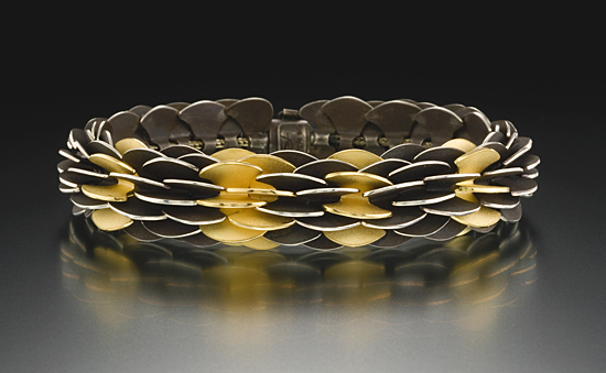 Black Pangolin - Silver & Gold Bracelet - by Samantha Freeman