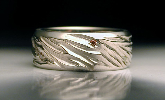 Carved White Gold Band with Diamonds - Gold & Stone Ring - by Jim Dailing