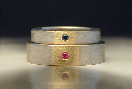 18K Palladium Band with Yellow Gold Inlay - Gold & Stone Ring - by Jim Dailing