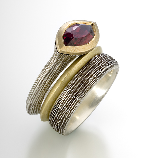 Earth Elements with Rhodolite Garnet - Silver, Gold & Stone Rings - by Susan Barth