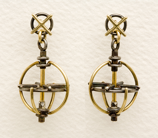 Gyroscope Earrings - Silver & Gold Earrings - by Ben Neubauer