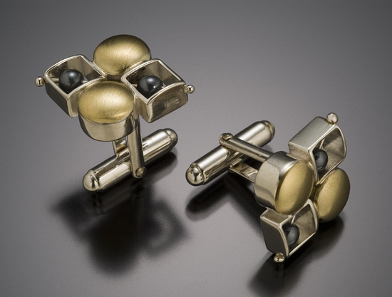 Round Square Checkerboard Cuffs - Silver & Gold Cuff Links - by Danielle L. Miller