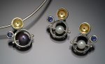 Silver, Gold & Stone Earrings & Pendant by Danielle L. Miller