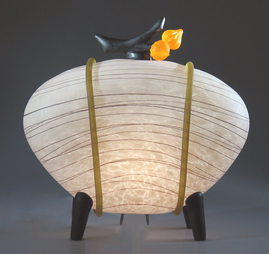 Kyoto Lantern: Squash Blossom - Glass Table Lamp - by Melanie Guernsey-Leppla