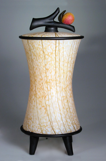 Kyoto Lantern: Peach - Glass Table Lamp - by David Leppla and Melanie Guernsey-Leppla