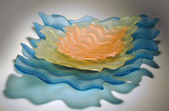 Water Bowl Set - Art Glass Serving Pieces - by Jennifer Smith, John P. Gilvey, Michael Benzer and Wendy Gilvey