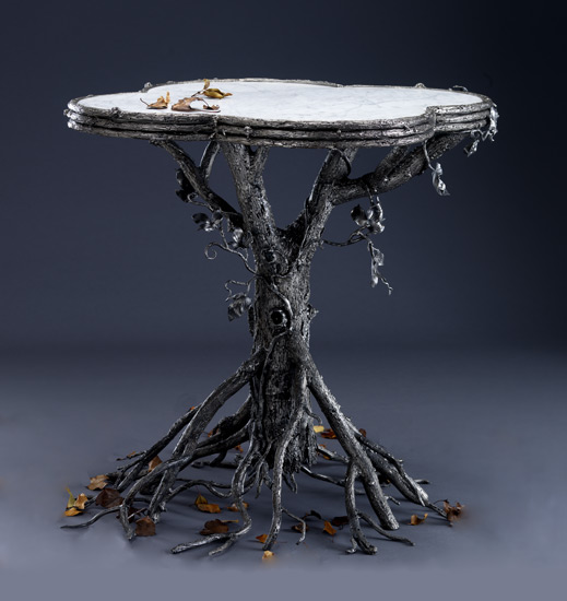 Occasional Table - Metal & Marble Table - by Bill Masterpool