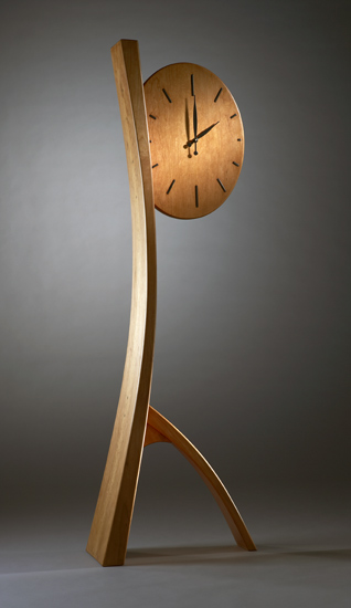 Forward in Time - Wood Floor Clock - by Brian Hubel