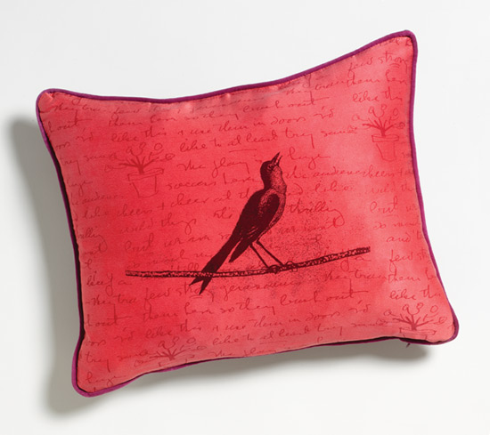 Songbird - Silk Pillow - by Laura Goldstein