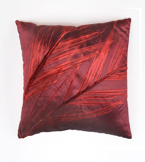 Palm on Mandarin - Etched Velvet Pillow - by Aviva Stanoff