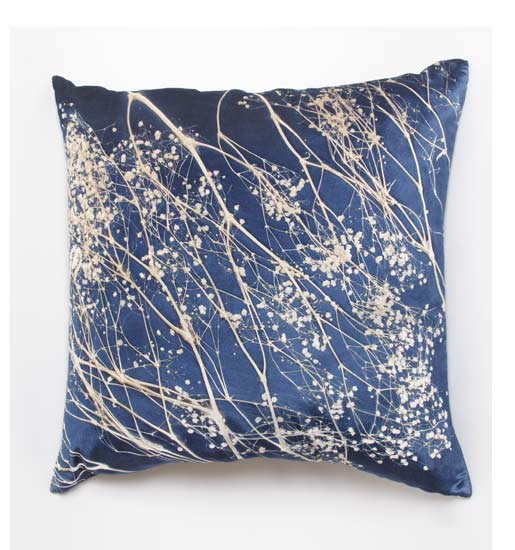 Baby's Breath on Twilight - Etched Velvet Pillow - by Aviva Stanoff