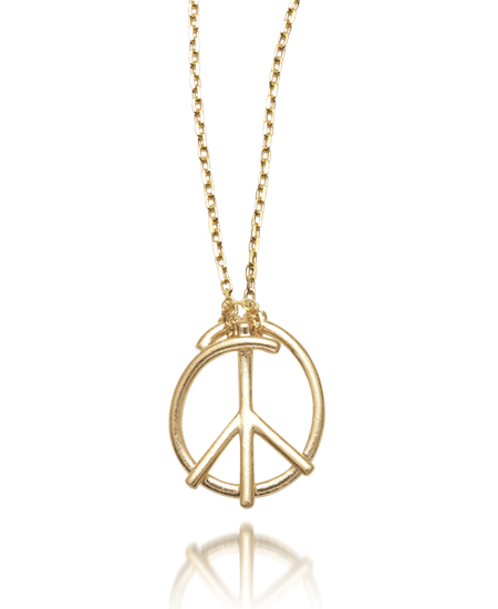 Peace Doodle Pendant - Gold Necklace - by Dana Melnick
