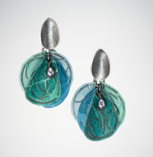Aqua Blossom Earrings - Silver & Paper Earrings - by Carol Windsor