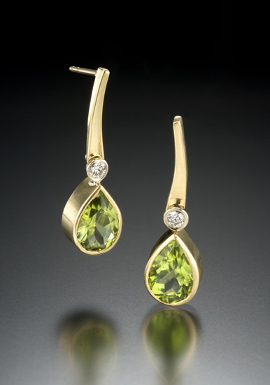 Peridot Earrings - Gold & Stone Earrings - by Gabriel Ofiesh