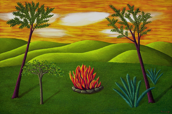 Landscape with Fire - Oil Painting - by Jane Troup