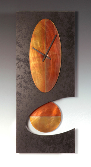 Black Oval Pendulum Clock - Metal & Wood Clock - by Leonie Lacouette