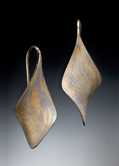 Anticlastic Twist Earrings - Mokume Earrings - by Stephen LeBlanc