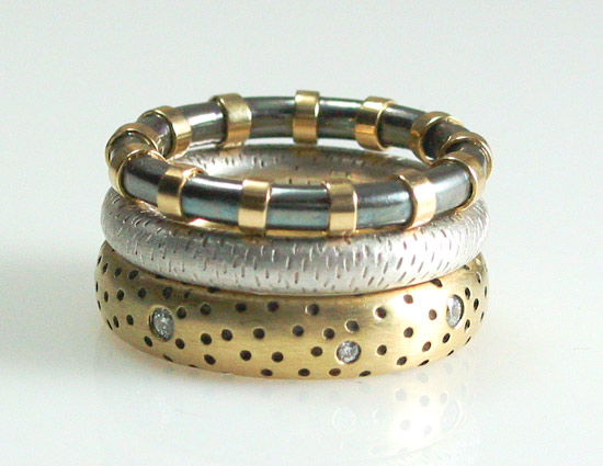 Textured Stack - Silver, Gold & Stone Ring Set - by Susan Chin