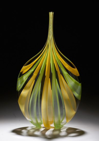 Green & Yellow Cane Bottle - Art Glass Vessel - by Chris McCarthy