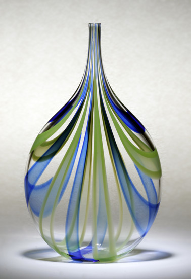 Cobalt & Green Cane Bottle - Art Glass Vessel - by Chris McCarthy