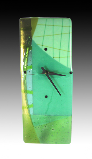Aquagreens Clock - Art Glass Clock - by Nina Cambron